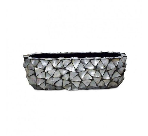 Pot & Vaas Shells Flower Pot Oval Mother of Pearl Silver - Small