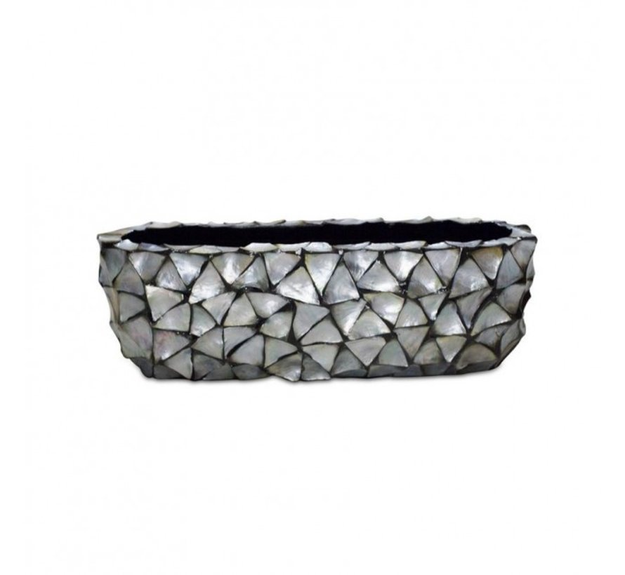 Shells Flower Pot Oval Mother of Pearl Silver - Small