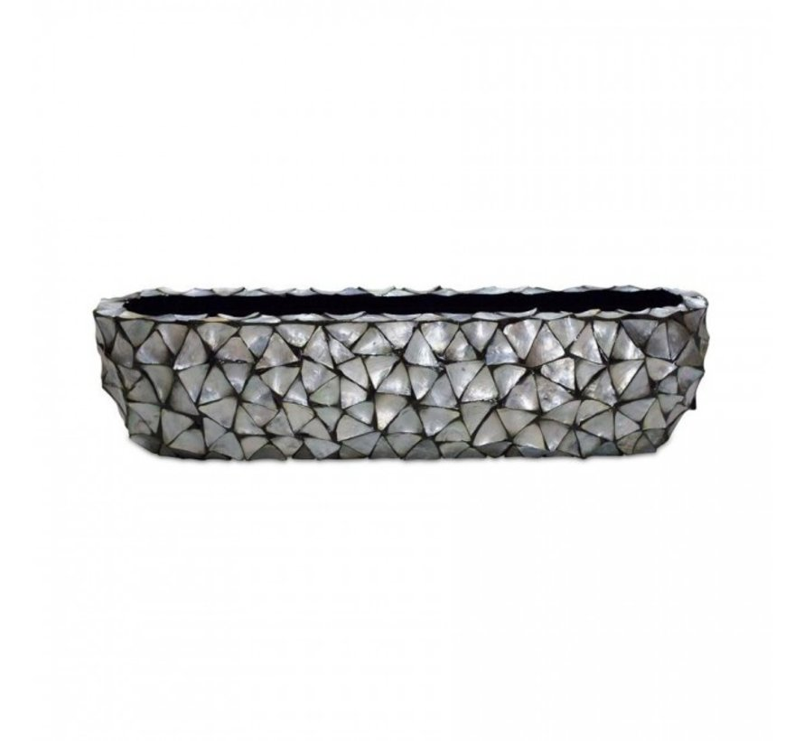 Shells Flower Pot Oval Mother of Pearl Silver - Large