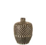 J -Line Bottle Vase Ethnic Low Bamboo Black Beige - Small