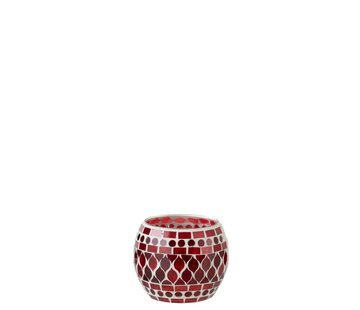 J-Line Tealight Holders Sphere Glass Mosaic Red White - Small