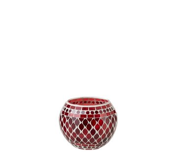 J -Line Tealight Holders Sphere Glass Mosaic Red White - Large