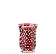 J -Line Tea Light Holders Glass Elegant Mosaic Red White - Large