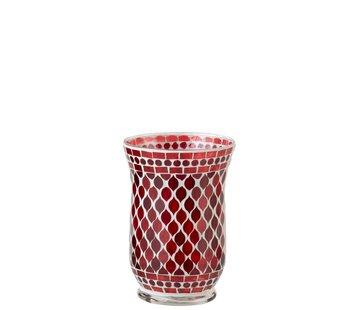 J -Line Theelichthouders Glas Elegant Mozaïek Rood Wit - Large