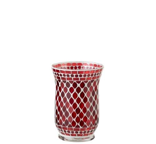 J-Line  Theelichthouders Glas Elegant Mozaïek Rood Wit - Large