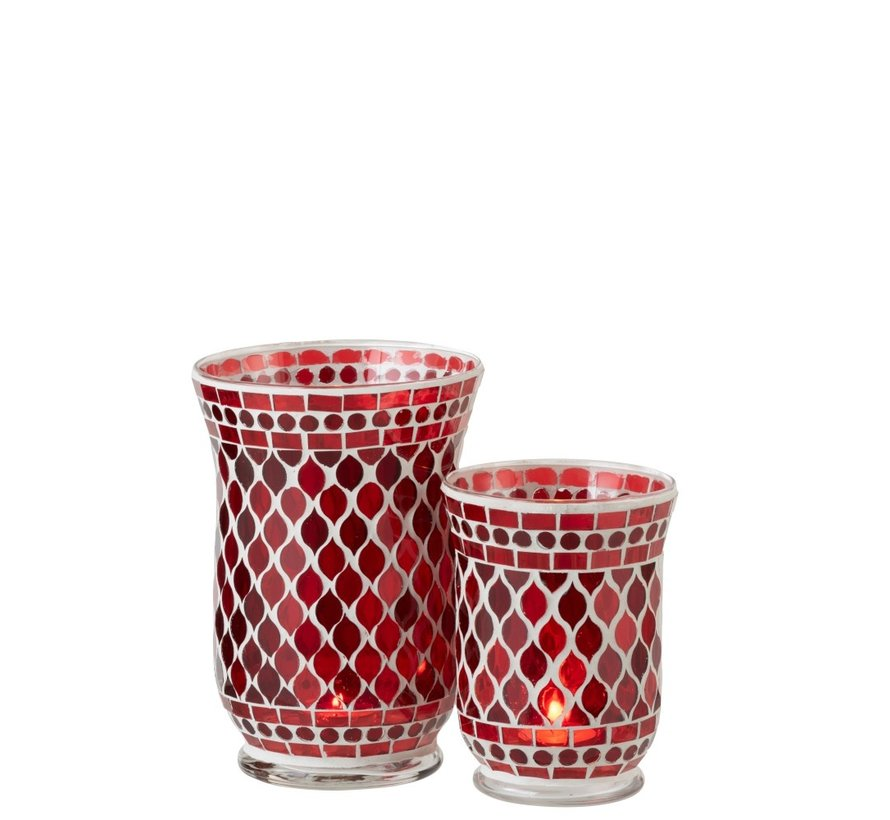 Theelichthouders Glas Elegant Mozaïek Rood Wit - Large