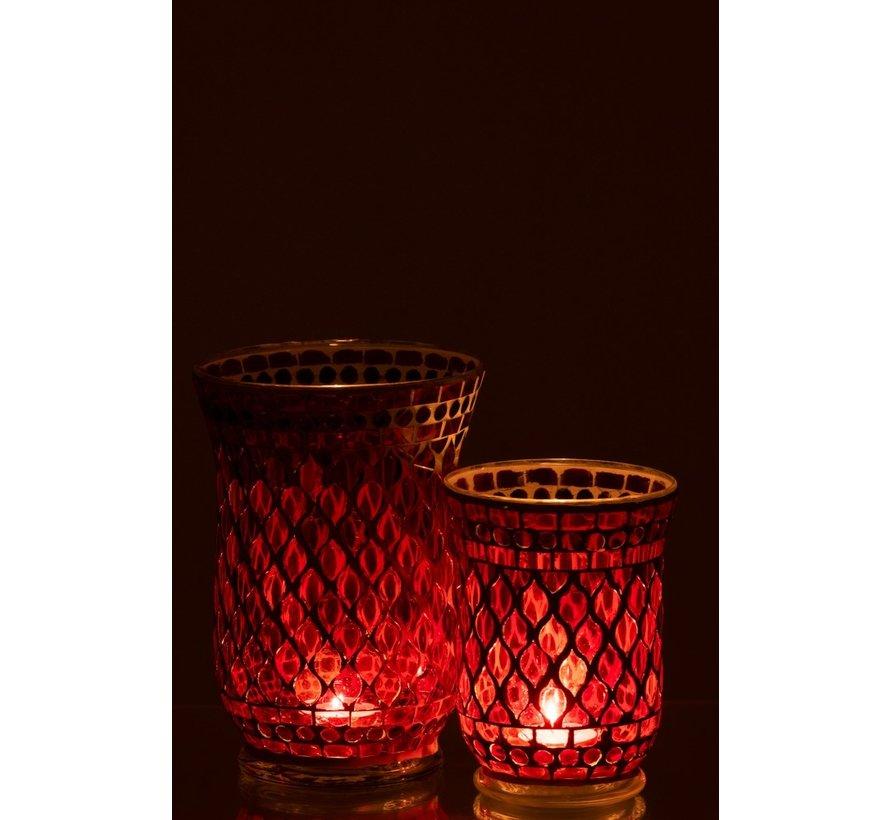 Tea Light Holders Glass Elegant Mosaic Red White - Large