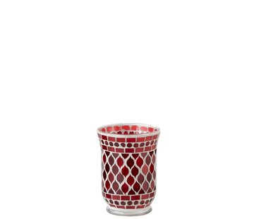 J -Line Theelichthouders Glas Elegant Mozaïek Rood Wit - Small
