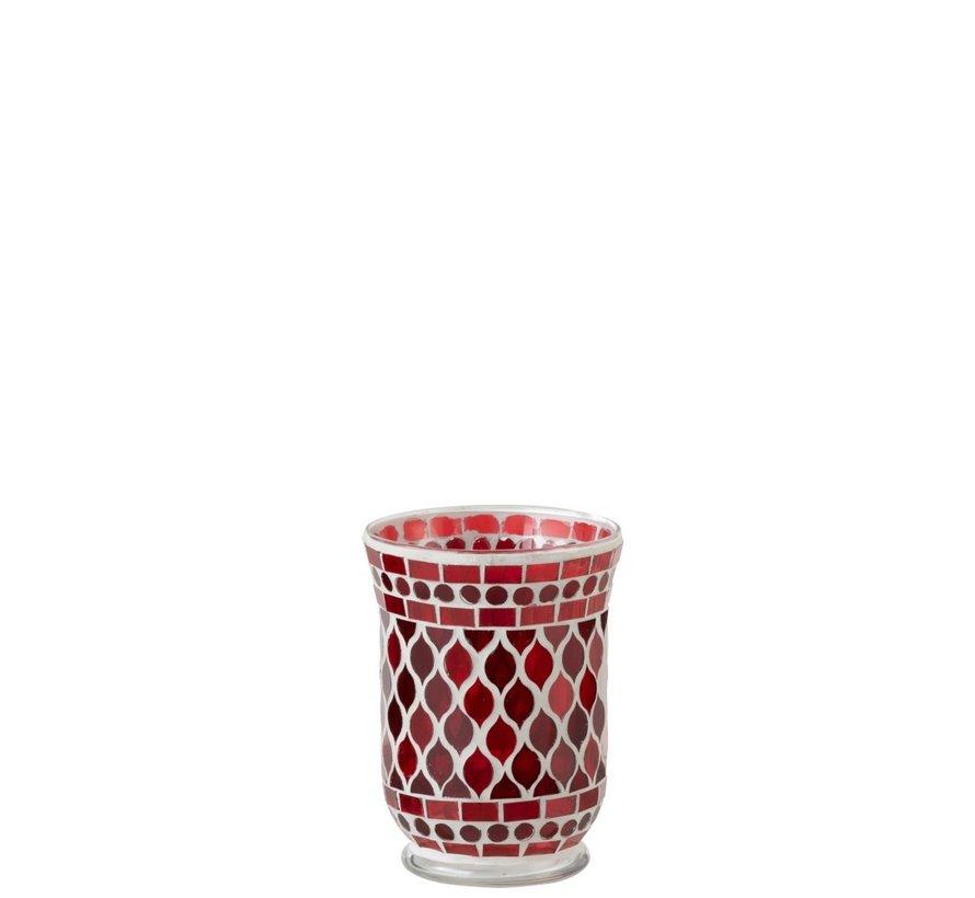 Tea Light Holders Glass Elegant Mosaic Red White - Small