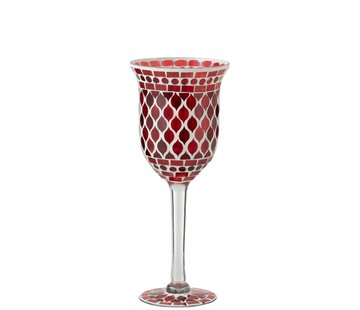 J-Line Tealight Holder Glass On Foot Mosaic Red White - Small