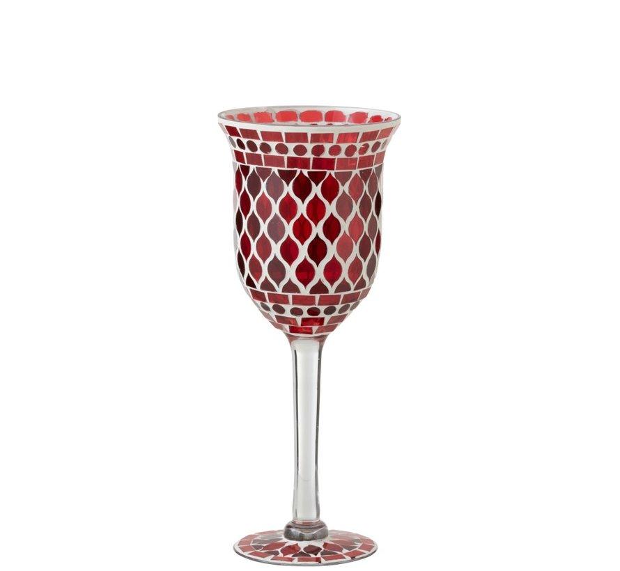 Theelichthouder Glas Op Voet Mozaïek Rood Wit - Small