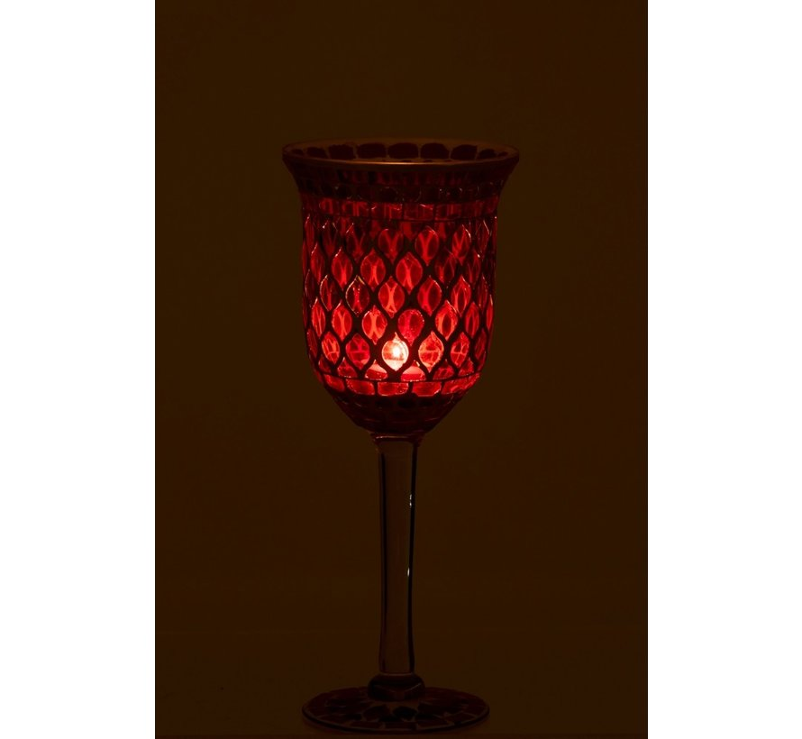 Tealight Holder Glass On Foot Mosaic Red White - Small