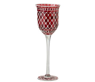 J-Line Tealight Holder Glass On Foot Mosaic Red White - Large