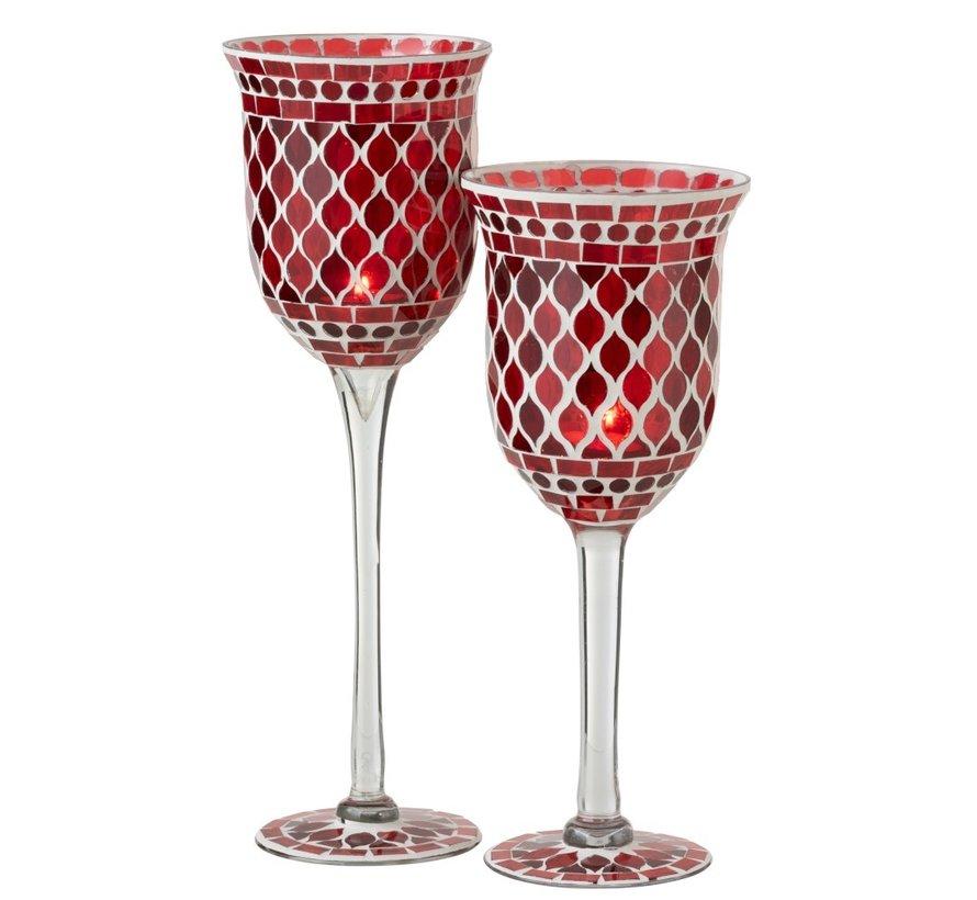 Theelichthouder Glas Op Voet Mozaïek Rood Wit - Large