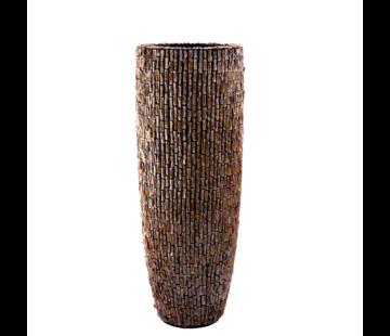 J -Line Schelpenvaas Cilinder Ruw Bruin - Extra Large