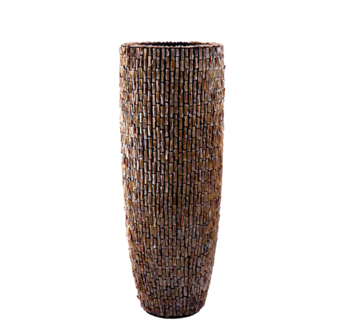 J -Line Shell Vase Cylinder Raw Brown - Extra Large