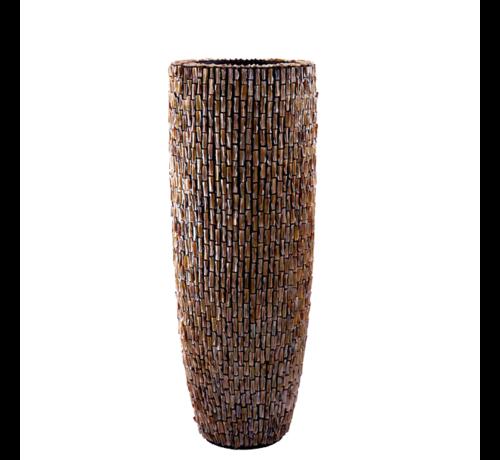 Pot & Vaas Schelpenvaas Cilinder Ruw Bruin - Extra Large