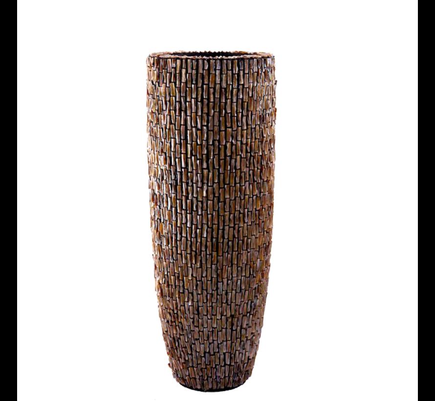 Schelpenvaas Cilinder Ruw Bruin - Extra Large