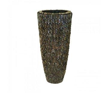 Pot & Vaas Schelpenvaas Cilinder Ruw Blinkend Bruin - Large