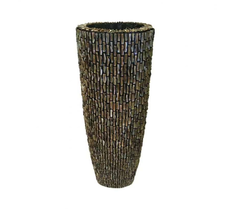 Schelpenvaas Cilinder Ruw Blinkend Bruin - Large