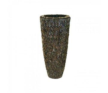 Pot & Vaas Shell Vase Cylinder Raw Shiny Brown - Medium