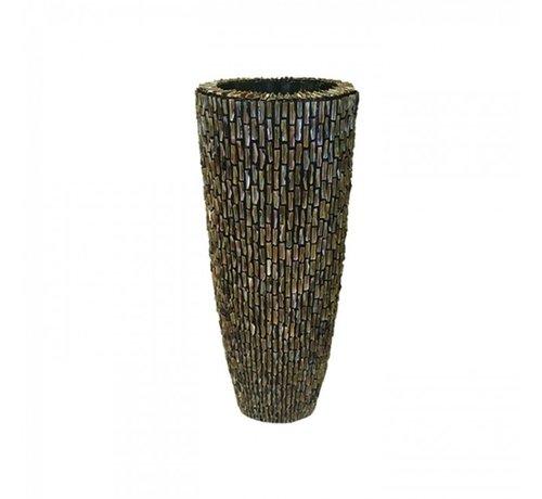 Pot & Vaas Schelpenvaas Cilinder Ruw Blinkend Bruin - Medium