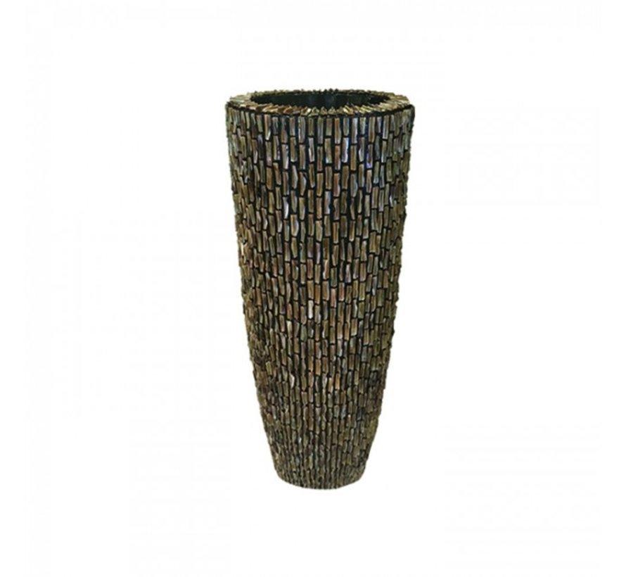 Schelpenvaas Cilinder Ruw Blinkend Bruin - Medium
