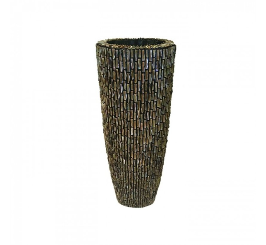 Shell Vase Cylinder Raw Shiny Brown - Medium