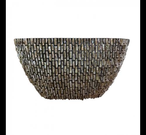 Pot & Vaas Shells Flower Pot Oval High Rough Shiny - Brown