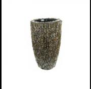 Pot & Vaas Schelpenvaas Cilinder Ruw Blinkend Bruin - Small