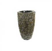 Pot & Vaas Shell Vase Cylinder Raw Shiny Brown - Small