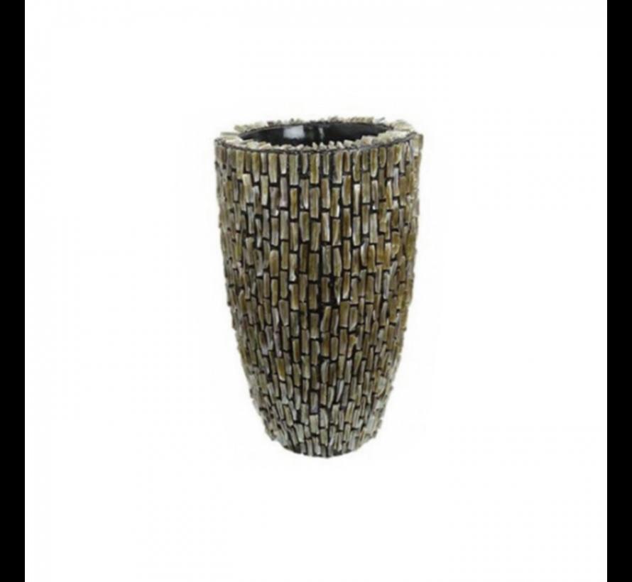 Schelpenvaas Cilinder Ruw Blinkend Bruin - Small