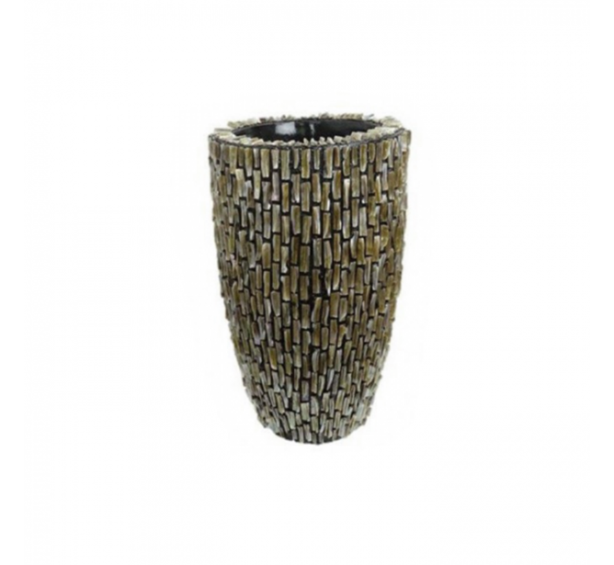 Shell Vase Cylinder Raw Shiny Brown - Small