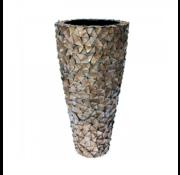 Pot & Vaas Schelpenvaas Cilinder Parelmoer Bruin - Extra Large