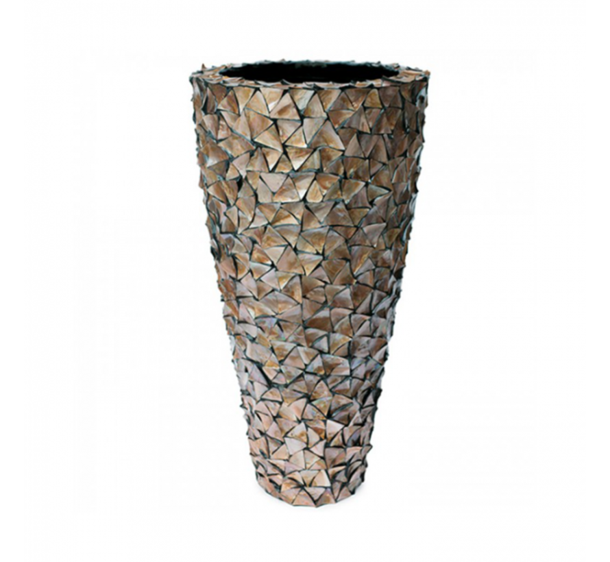 Shell Vase Cylinder Mother of Pearl Brown - Extra Large