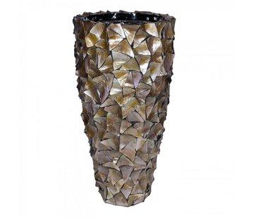 Pot & Vaas Schelpenvaas Cilinder Parelmoer Bruin - Large