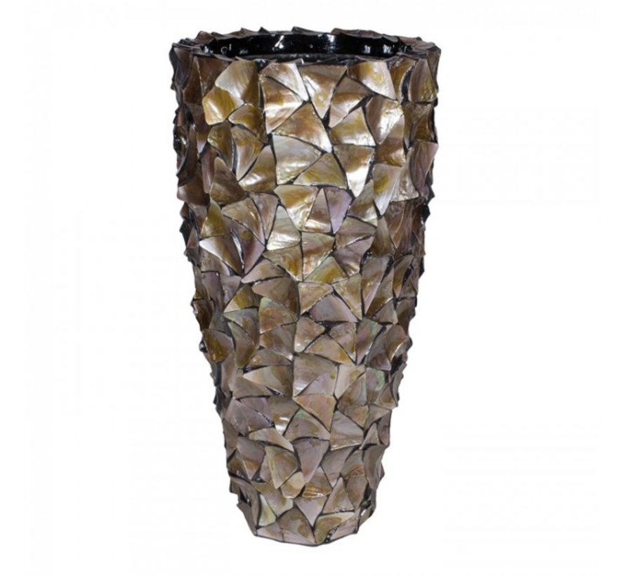 Shell Vase Cylinder Mother of Pearl Brown - Large