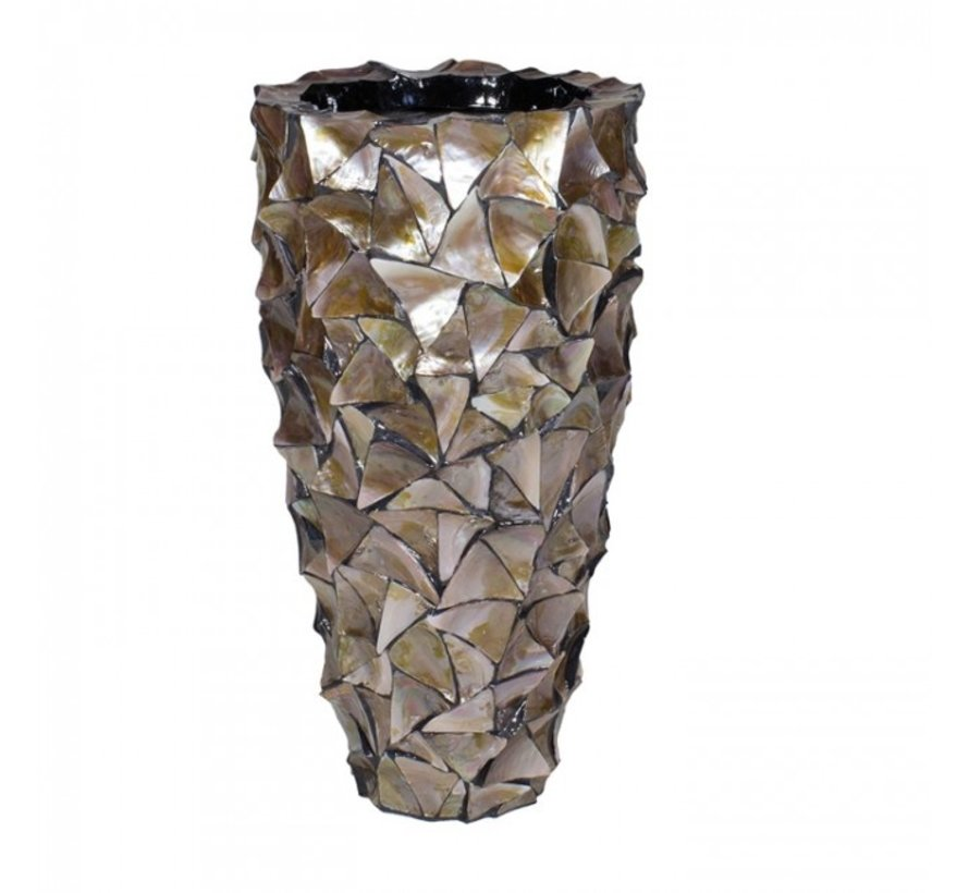 Shell Vase Cylinder Mother of Pearl Brown - Medium