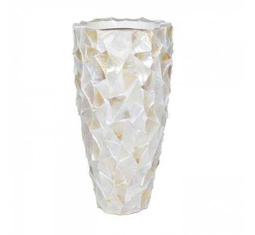 Pot & Vaas Shell Vase Cylinder Mother of Pearl Cream - Medium