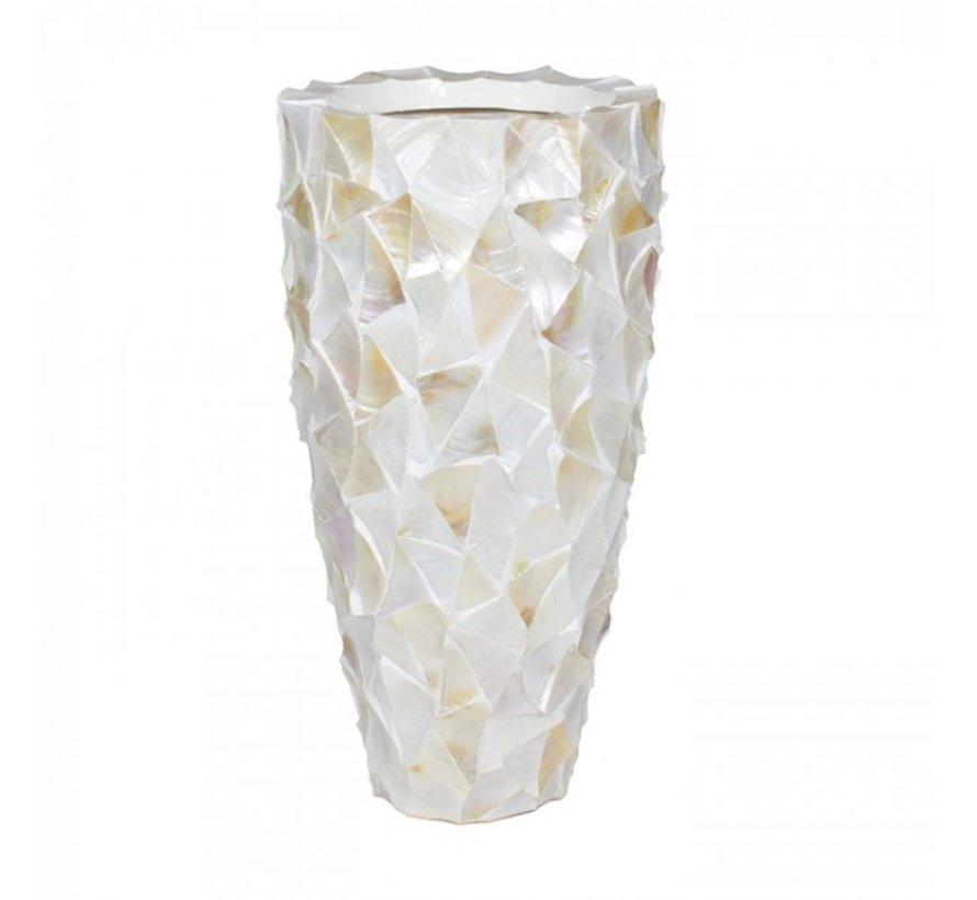 Shell Vase Cylinder Mother of Pearl Cream - Medium