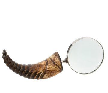J -Line Decoratie Vergrootglas Breed Hoorn Glas Zwart / Bruin