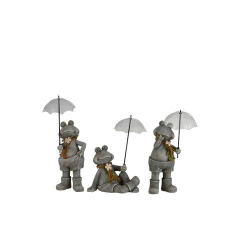 J -Line Decoration Frogs With umbrella Poly Gray - Small