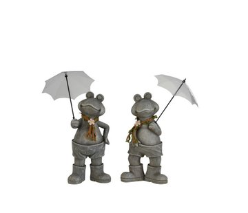 J -Line Decoration Two Frogs With umbrella Poly Gray - Medium
