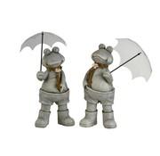 J -Line Decoratie Twee Kikkers Met paraplu Poly Grijs - Large
