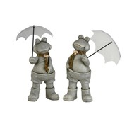 J-Line Decoration Two Frogs With umbrella Poly Gray - Large