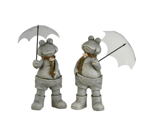 J -Line Decoration Two Frogs With umbrella Poly Gray - Large