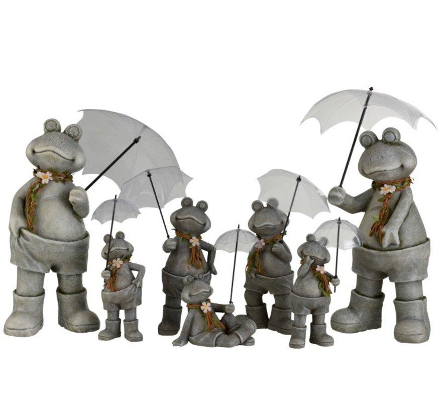 Decoratie Twee Kikkers Met paraplu Poly Grijs - Large