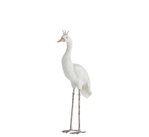 J -Line Decoratie Kraanvogel Veren Kroon Wit Zilver - Small