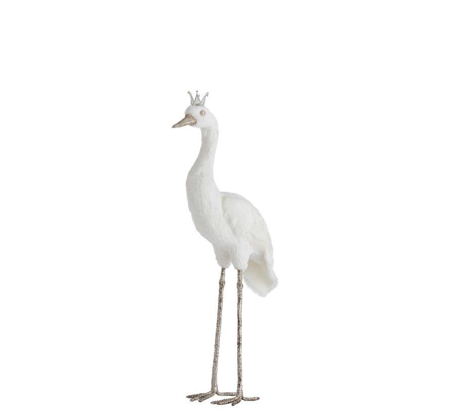 Decoratie Kraanvogel Veren Kroon Wit Zilver - Small