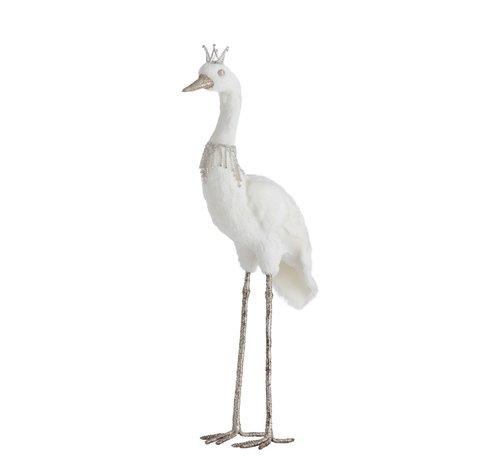 J -Line Decoratie Kraanvogel Veren Kroon Wit Zilver - Large